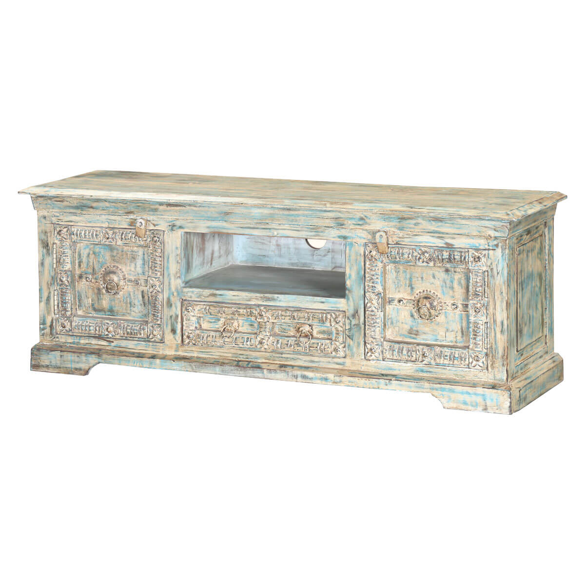 Winter White Reclaimed Wood Hand Carved Media Console Tv Stand With Regard To Jakarta Tv Stands (View 5 of 15)