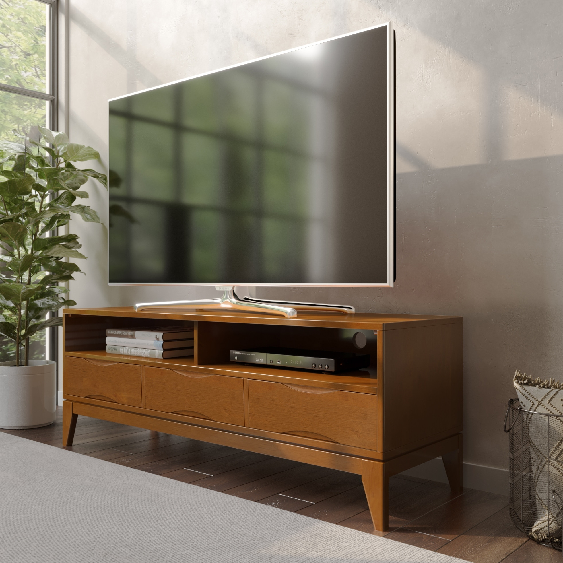 Wyndenhall Pearson Solid Hardwood 60 Inch Wide Mid Century Regarding Baby Proof Contemporary Tv Cabinets (View 6 of 15)