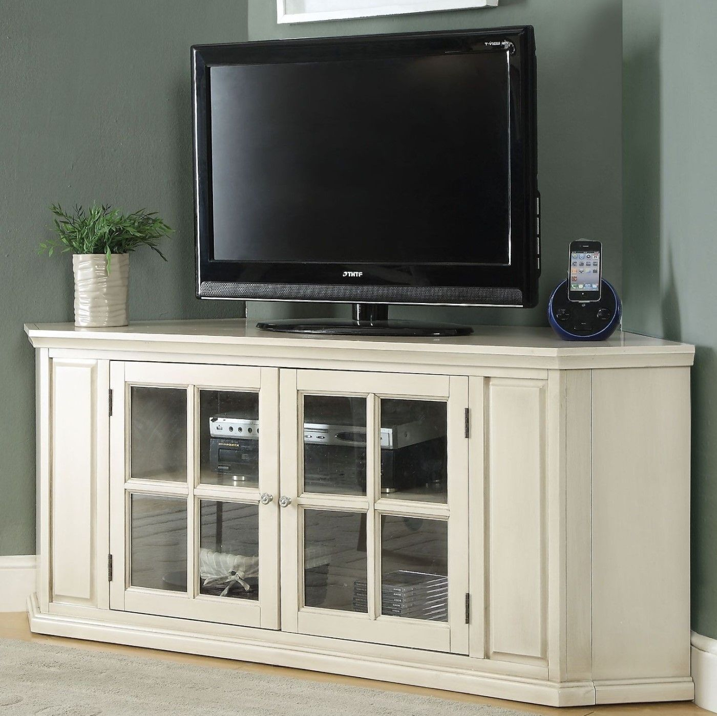 Zadie Transitional Corner Tv Stand With Glass Doors In Within Tv Cabinets With Glass Doors (View 5 of 15)