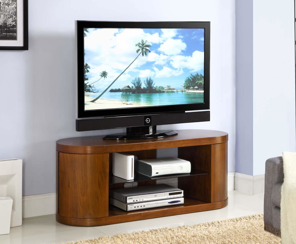 Zennor Curved Walnut And Glass Tv Cabinet Pertaining To Tv Stands Cabinets (View 2 of 15)