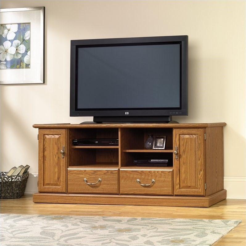 Sauder Orchard Hills Wood Tv Stand In Carolina Oak Finish Intended For Priya Tv Stands (View 13 of 17)