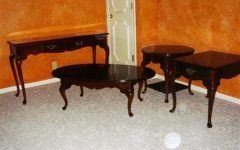 Cherry Wood Coffee Table Set Decoration
