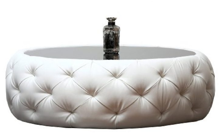 Round Leather Coffee Table Decoration