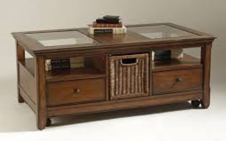 Woodworking Coffee Table with Glass Display Top