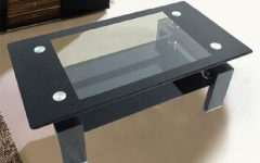 Black Glass Coffee Table with Black Legs