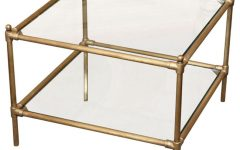 Modern Clear Brass Glass Coffee Table