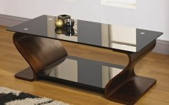 Contemporary Furniture Brown Glass Coffee Table