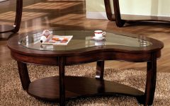 Dark Wood Coffee Table with Glass Top
