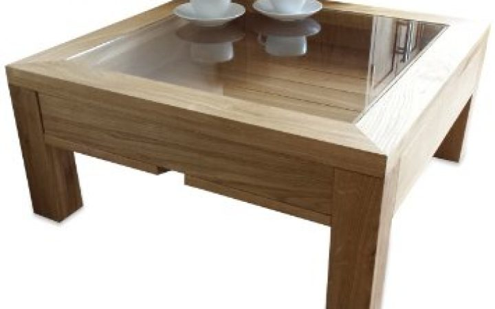 Glass Top Oak Coffee Table