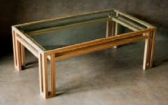Table Top Glass Wood Coffee Table