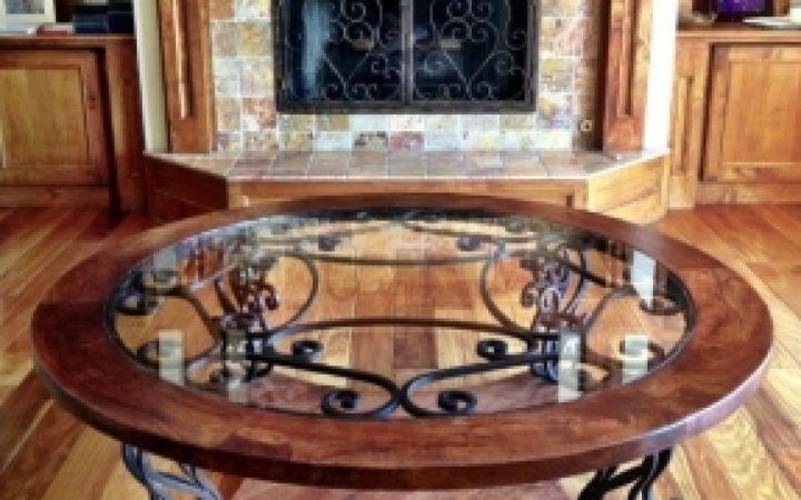 Modern Classic Glass Wrought Iron Coffee Table