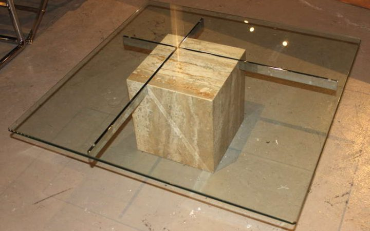 Modern Minimalist Glass and Marble Coffee Table