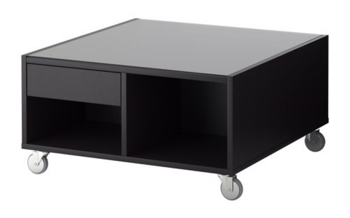 Ikea Black Coffee Table with Glass Top