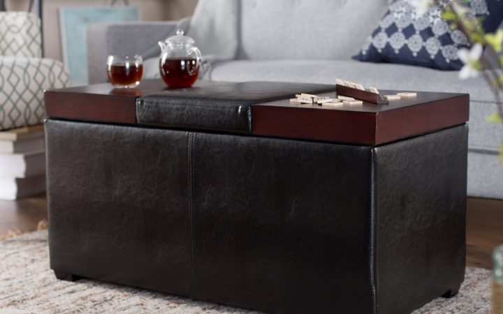 Leather Coffee Tables Ottoman with Storages