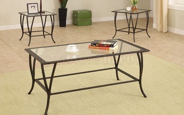 Elegant Metal Coffee Table with Glass Top