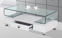 Lift Up Modern White and Glass Coffee Table