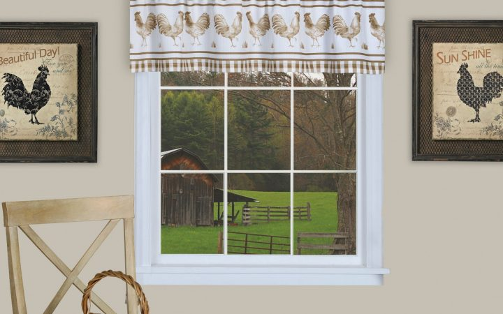 Barnyard Buffalo Check Rooster Window Valances