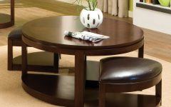Leather Round Coffee Table with Storage Ottomans