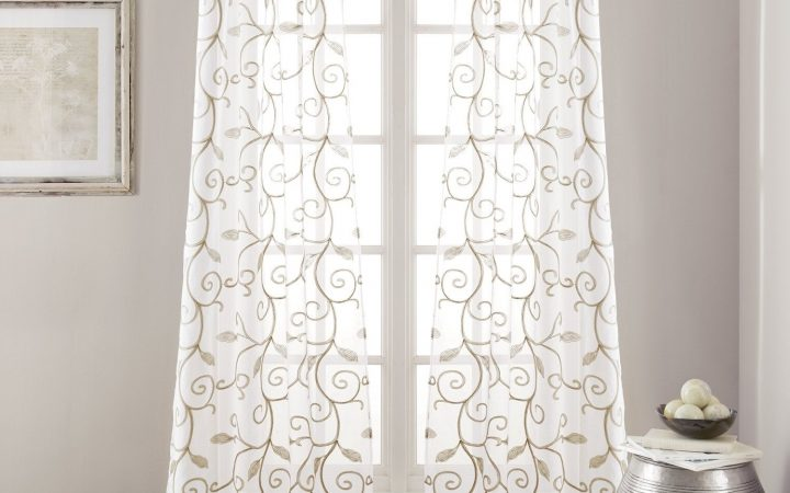 Overseas Leaf Swirl Embroidered Curtain Panel Pairs