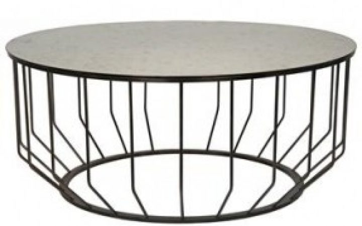 Round Metal and Glass Coffee Table with Shelf