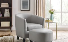Annegret Faux Leather Barrel Chair and Ottoman Sets