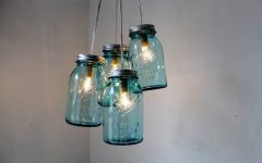 Blue Mason Jar Lights Fixtures
