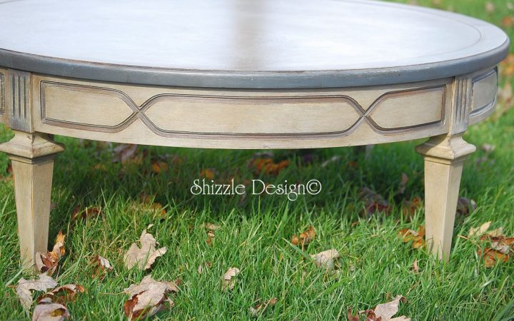 Low Round Painted Coffee Table