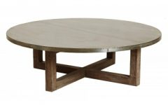 Wooden Round Timber Coffee Table with Drawers