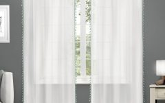 Tassels Applique Sheer Rod Pocket Top Curtain Panel Pairs