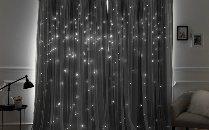 Star Punch Tulle Overlay Blackout Curtain Panel Pairs