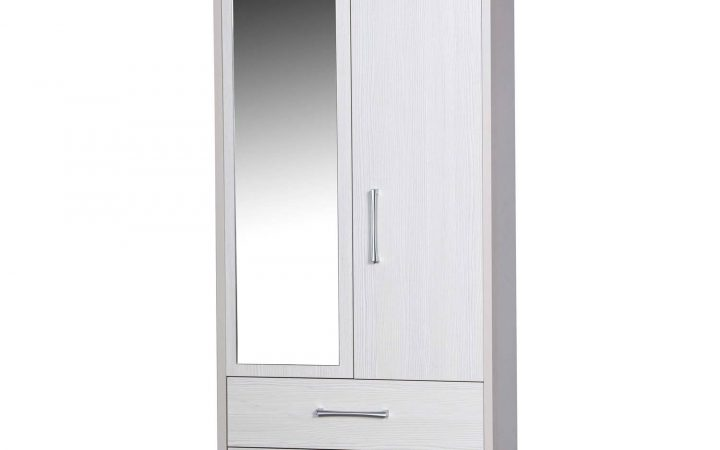 White Wardrobes with Drawers and Mirror