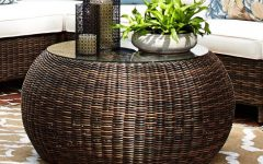 Indoor Round Wicker Coffee Table Ottoman