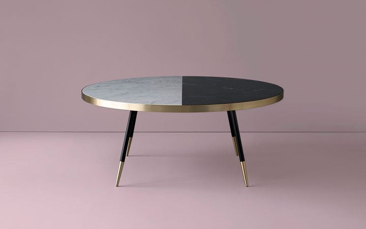 2 Tone Grey and White Marble Coffee Tables
