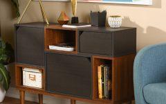 Mid-Century Retro Modern Oak and Espresso Wood Buffets