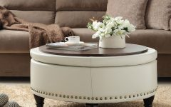 Large Round Leather Ottoman Coffee Table with Storage