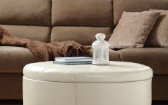 Leather Round Upholstered Ottoman Coffee Table