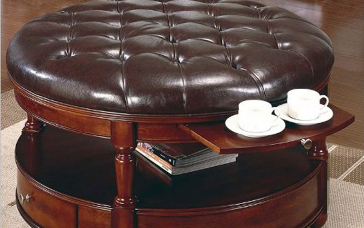 Round Coffee Table with Ottomans Storage