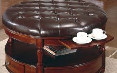 Round Coffee Table Ottomans with Storage