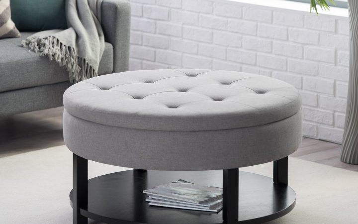Large Round Ottoman Coffee Table with Storage