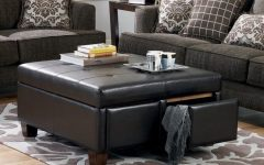 Brown Leather Ottoman Coffee Tables with Storages