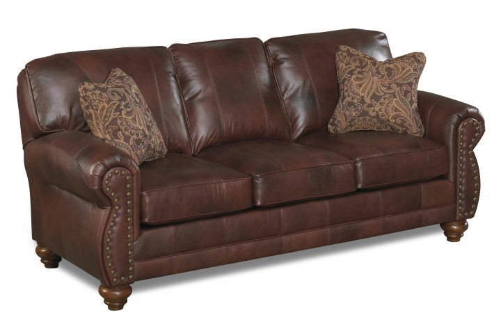 Brown Leather Sofas with Nailhead Trim