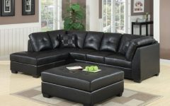 Contemporary Black Leather Sectional Sofa Left Side Chaise