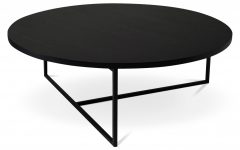 Contemporary Round Black Coffee Table with Storage