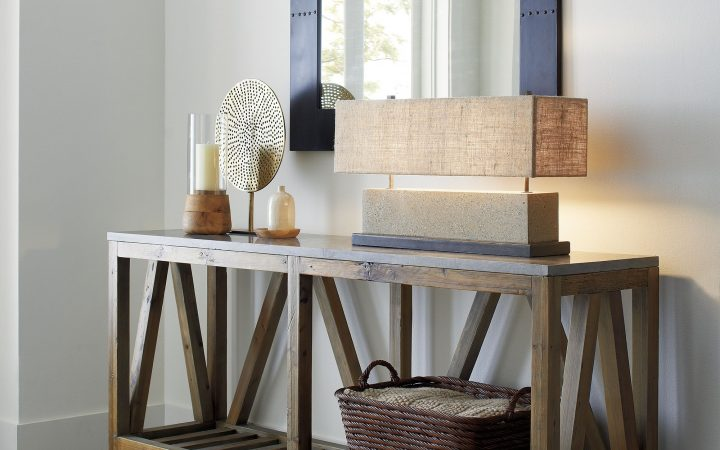 Natural Wood Mirrored Media Console Tables