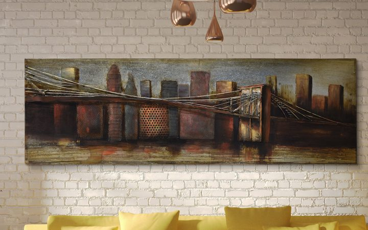 """""""bridge to the City"""" Mixed Media Iron Hand Painted Dimensional Wall Decor"""