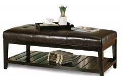 Original Leather Ottoman Coffee Table Rectangle High Quality
