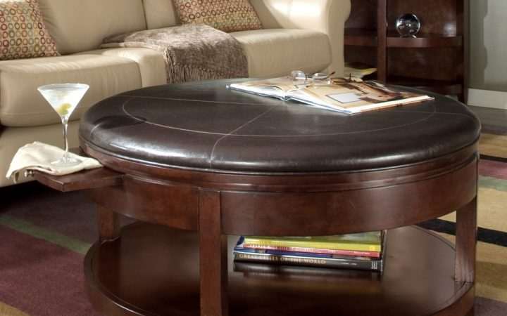 Large Round Leather Ottomans Coffee Tables Furniture