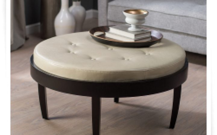 Round Leather Coffee Tables with Storage