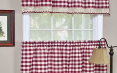 Kitchen Burgundy/white Curtain Sets