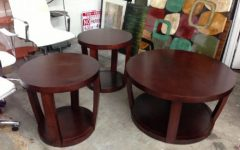 Dark Wood Round Coffee and End Table Sets